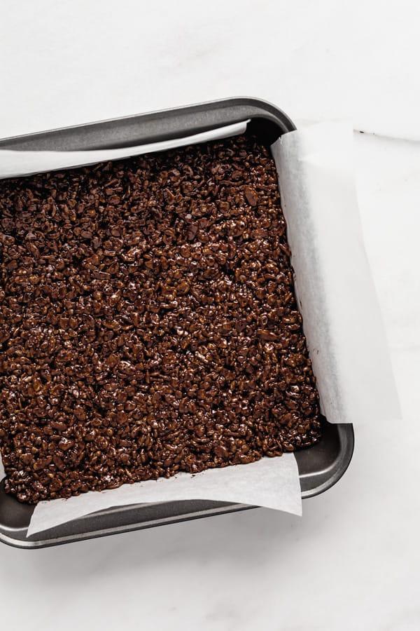 Chocolate rice Krispie treats in an 8x8 inch pan