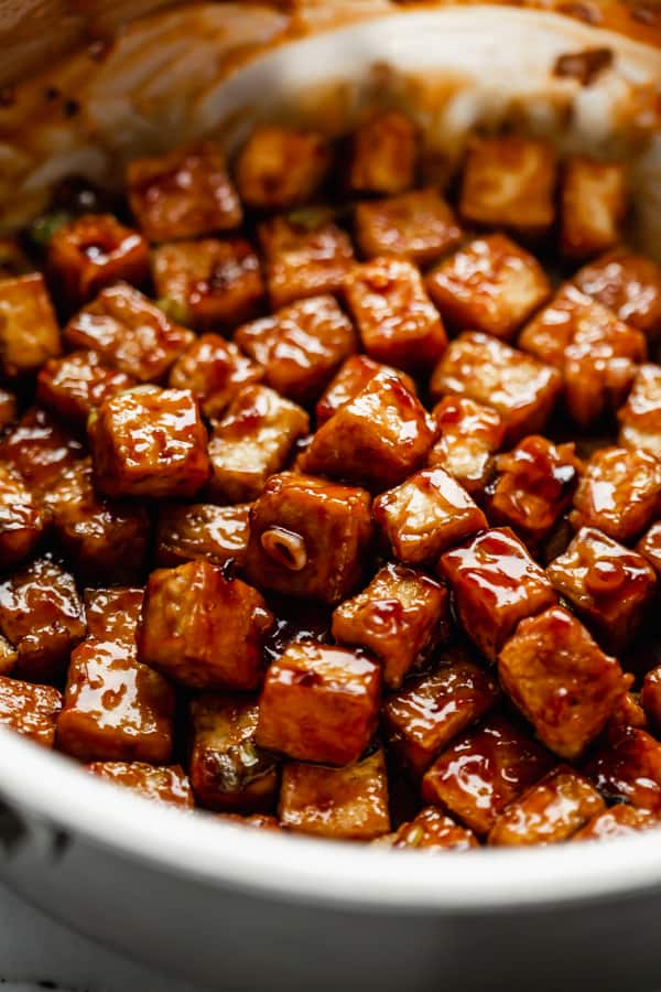 general Tso tofu in a frying pan