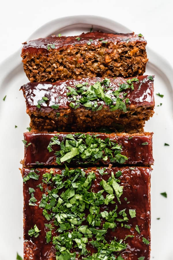 lentil loaf sliced on a serving tray