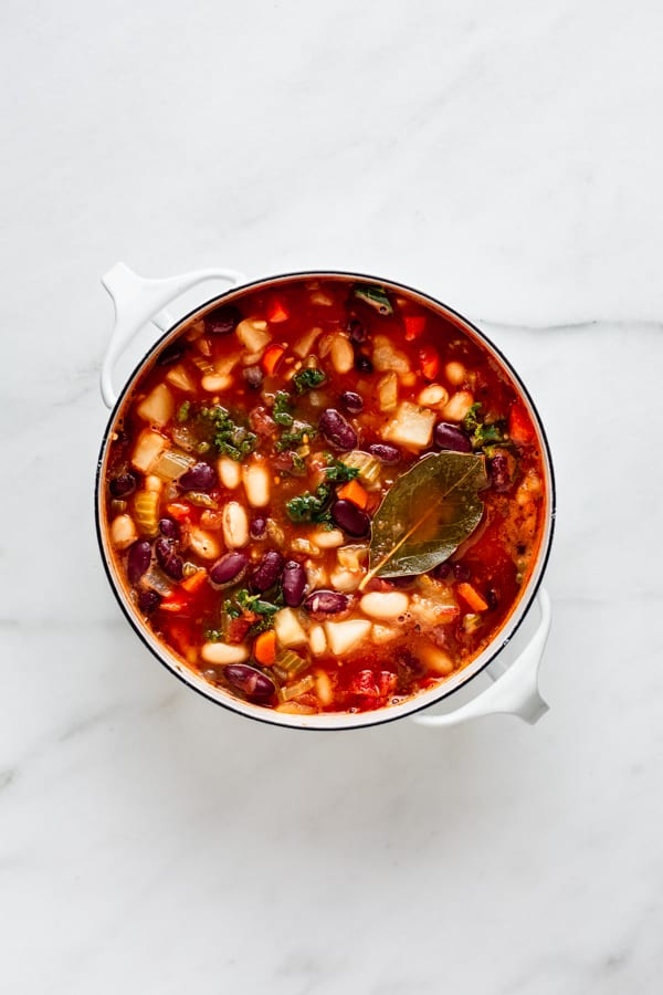 A pot filled with vegan minestrone soup