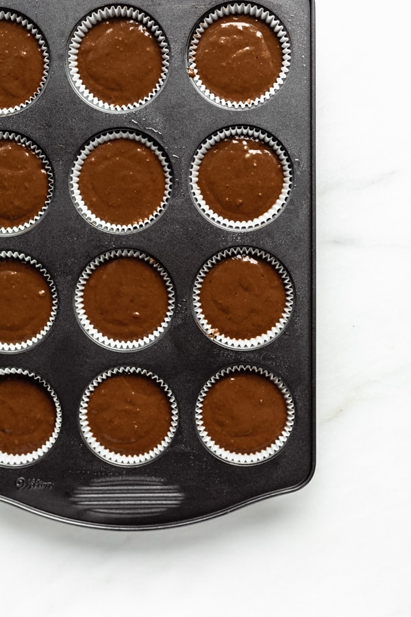 gingerbread muffin batter in a muffin pan