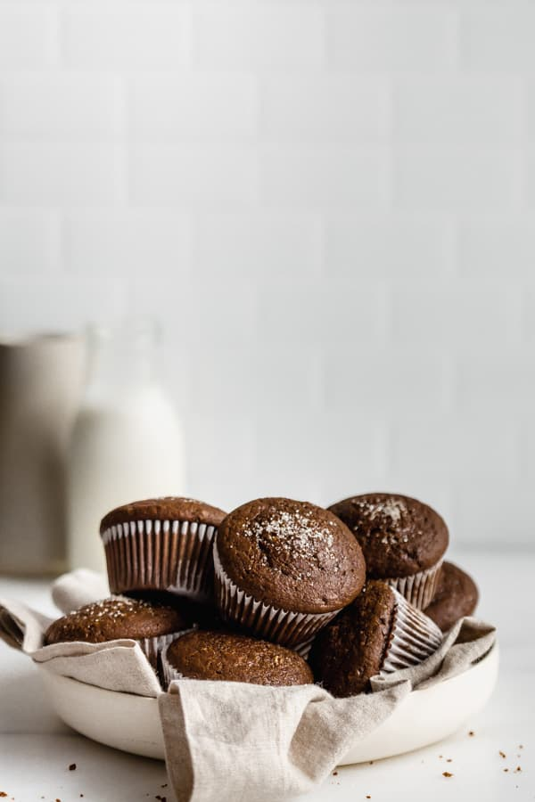 a bowl of gingerbread muffins on a counter top