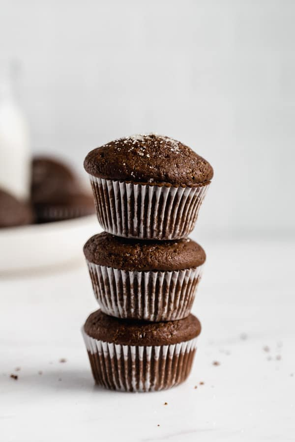 three gingerbread muffins stacked on top of each other