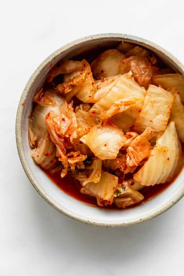 A bowl of kimchi