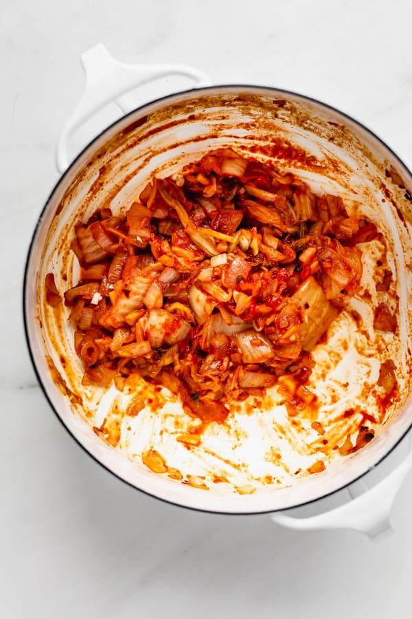 kimchi in a white pot