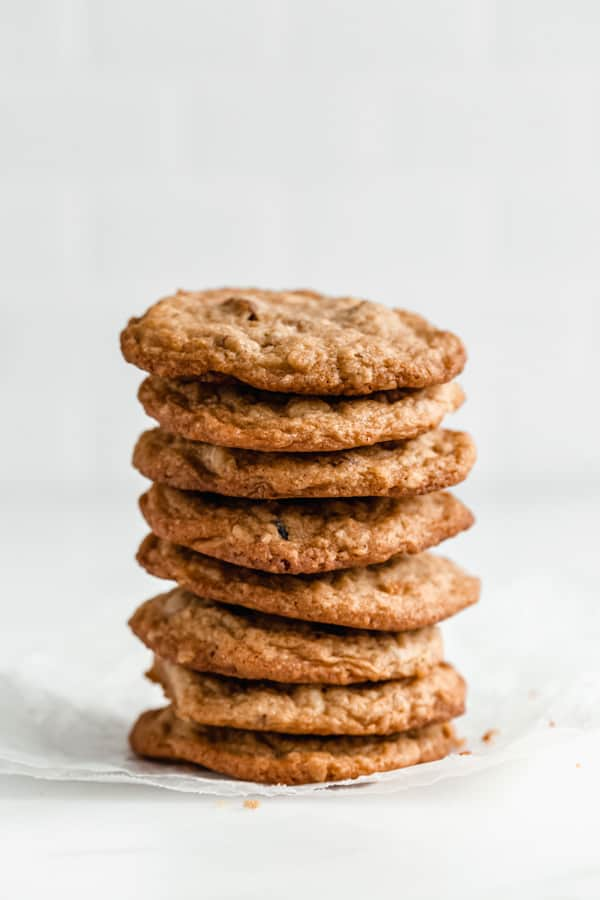 a stack of chewy white chocolate cranberry cookies