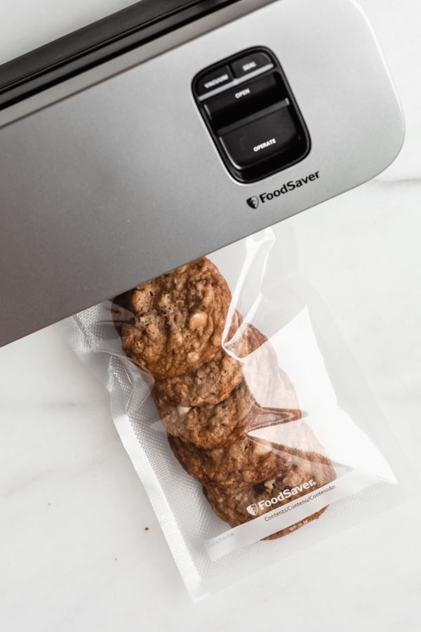 cookies in a bag with a foodsaver next to them
