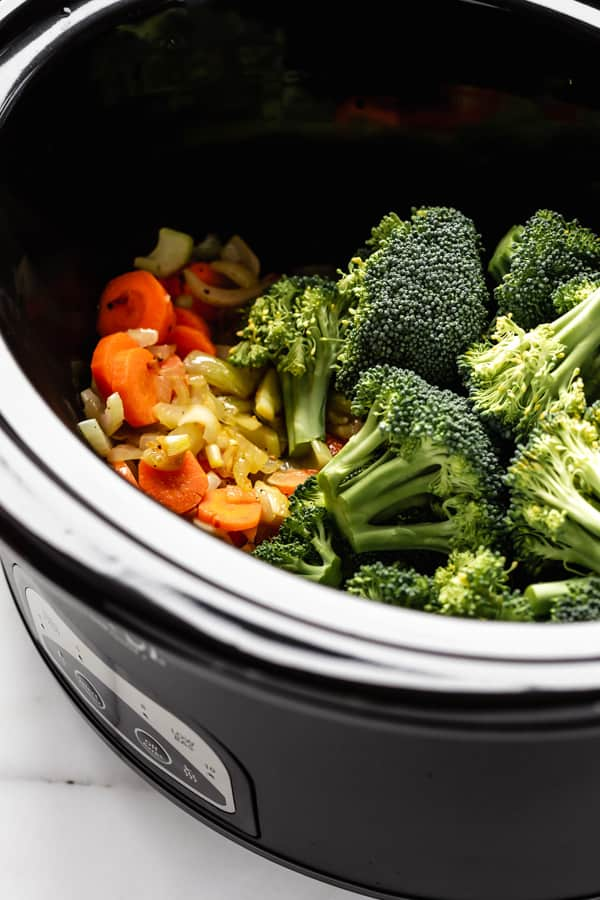 Broccoli and vegetables in a crockpot