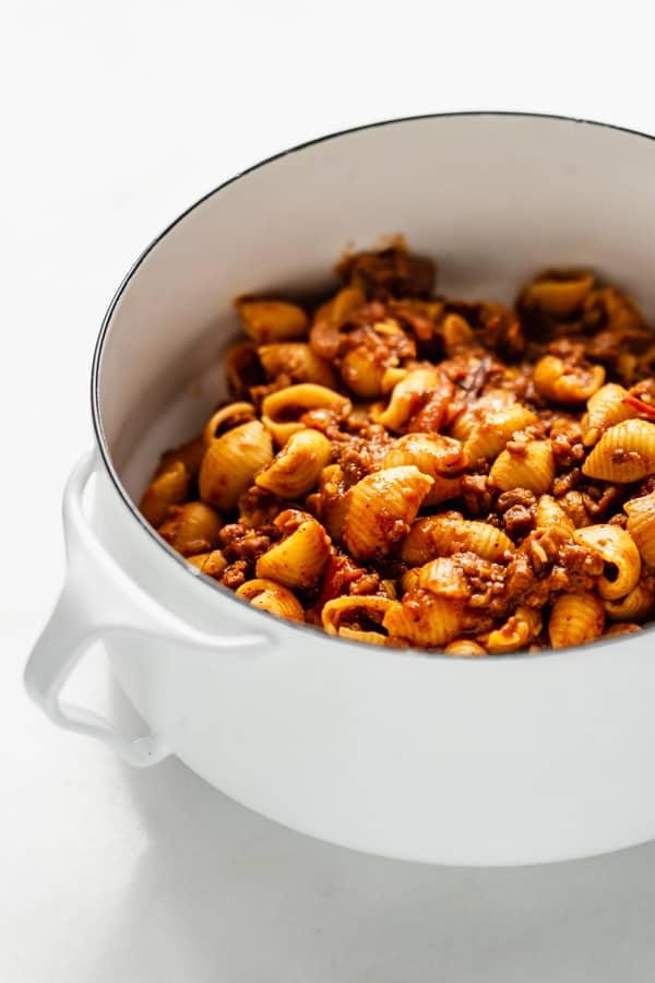 vegan taco pasta in a white pot