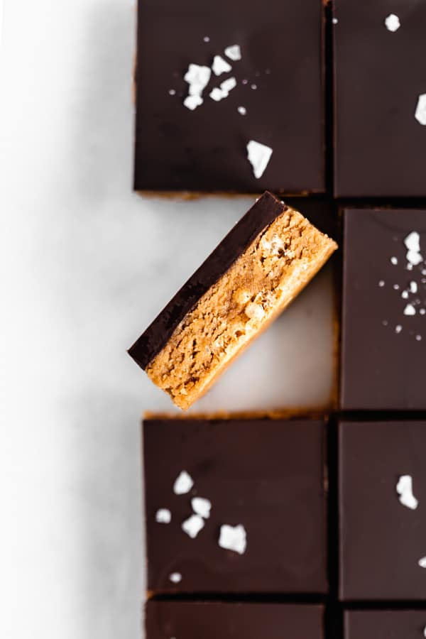 peanut butter protein bars cut into squares
