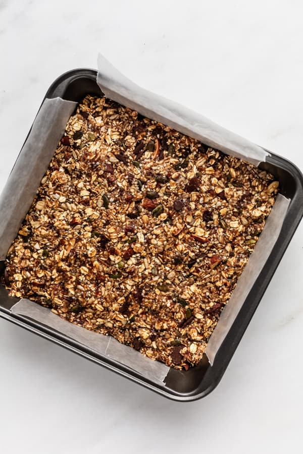 superfood granola bars in an 8x8 inch baking pan