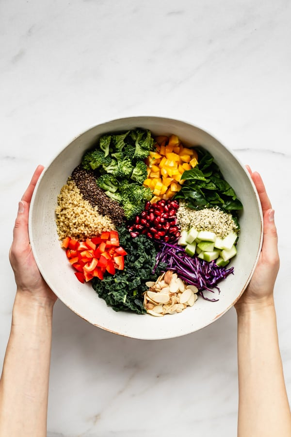 two hands holding a bowl of chopped vegetables and quinoa