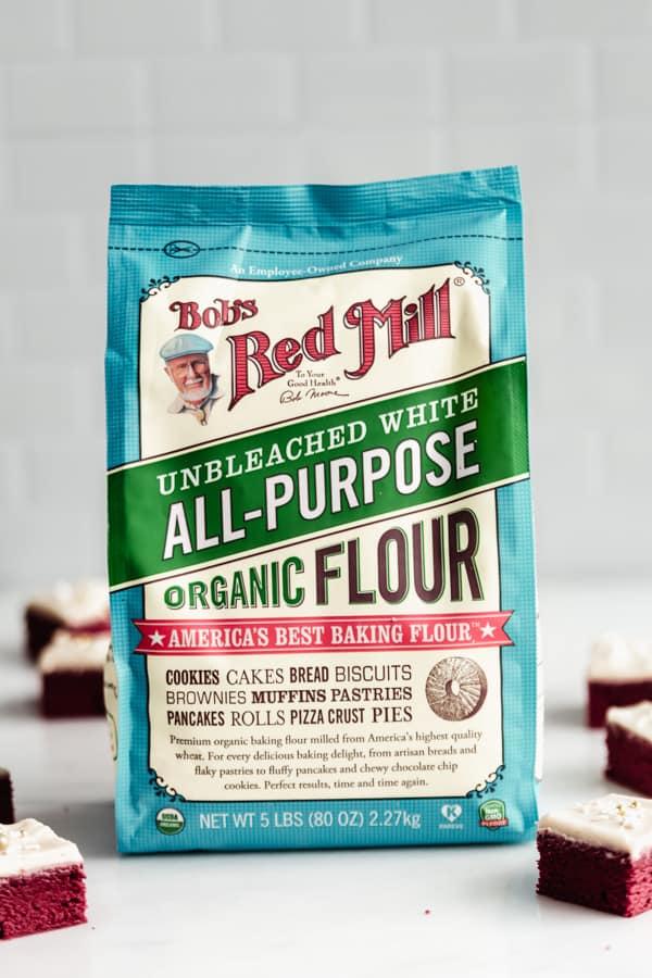 A bag of bob's red mill all purpose organic flour