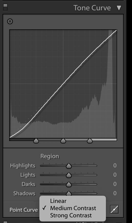 Adobe lightroom tone curve graph
