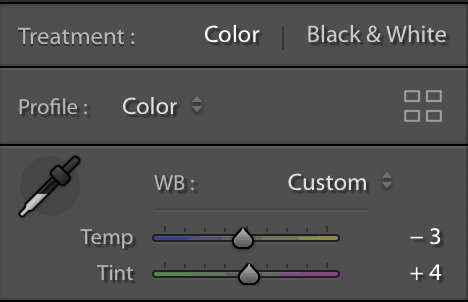 Adobe Lightroom white balance graph