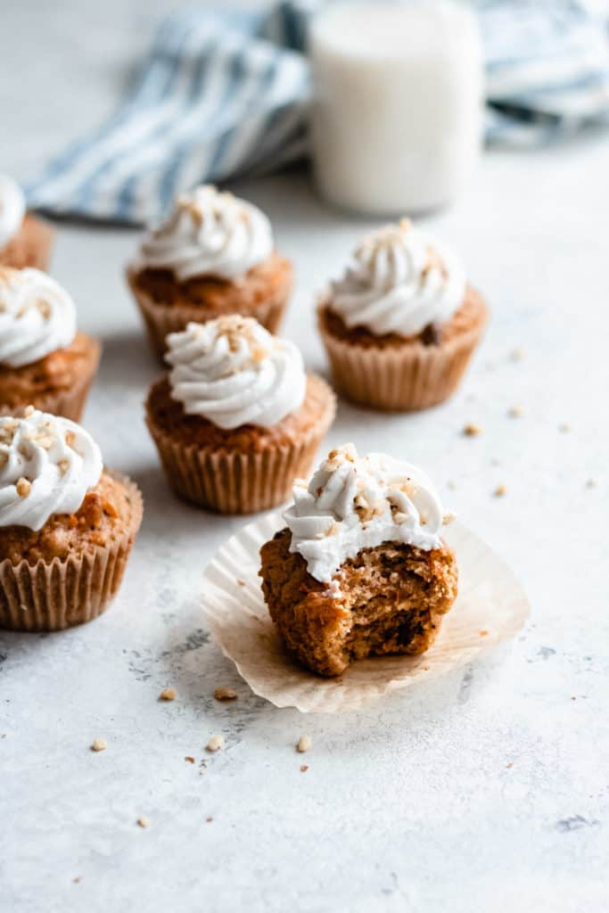 carrot cake cupcakes on a counter