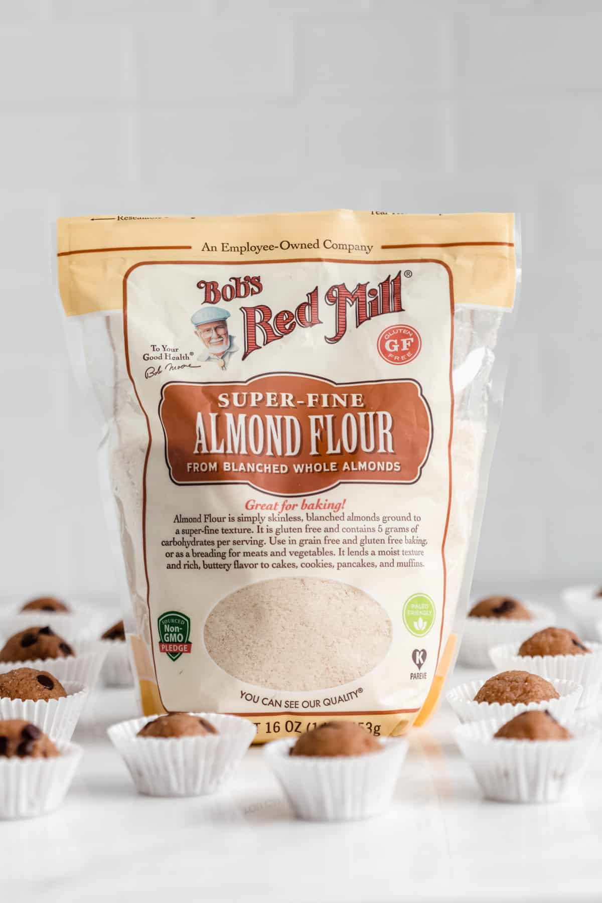 a pack of Bob's Red Mill Almond Flour on a counter