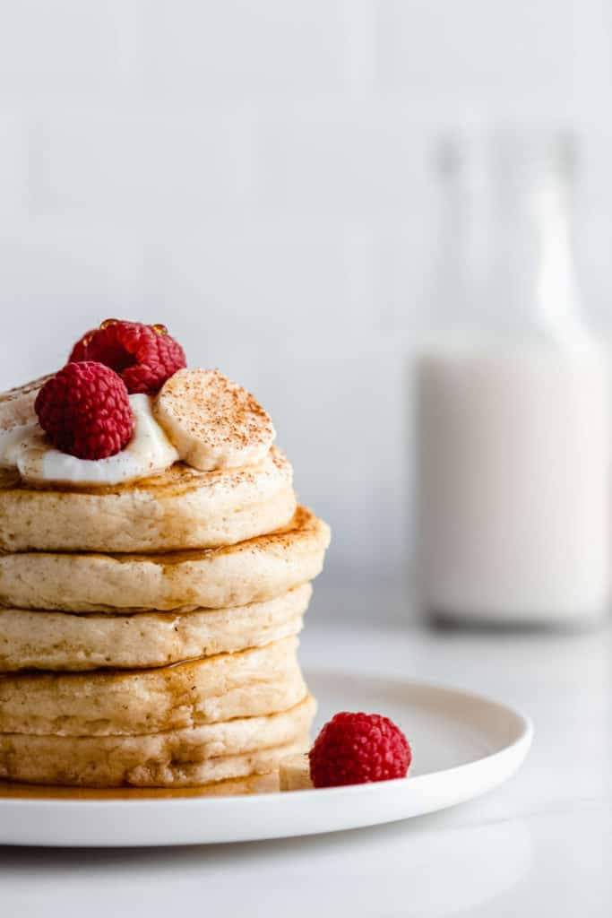 a close up view of a stack of pancakes
