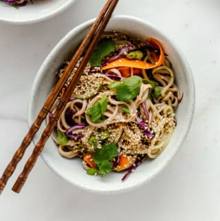 A bowl of soba noodle salad with chopsticks on top