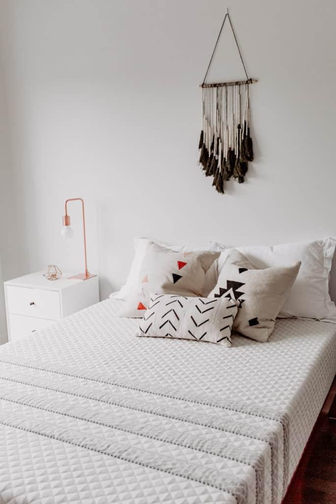 A leesa mattress with pillows on it