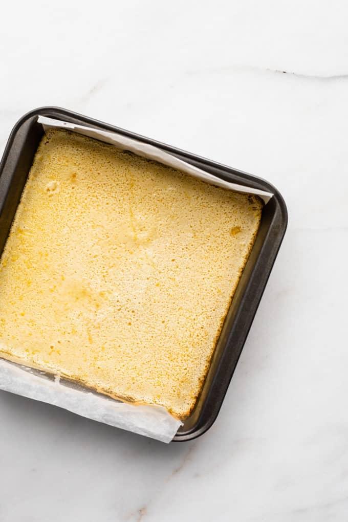 lemon bars in a pan