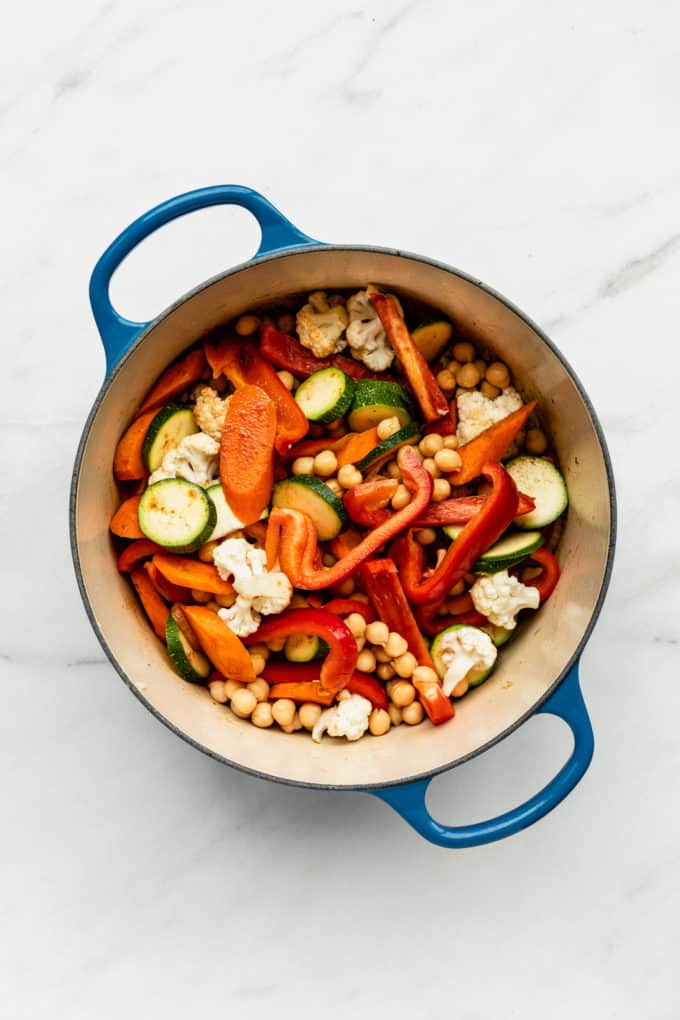mixed vegetables in a blue pot