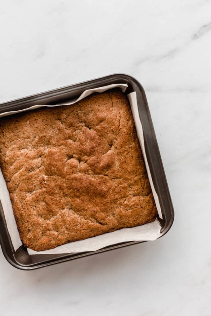 blondies baked in an 8x8 inch pan