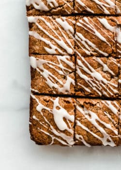 Chai Latte blondies with a while glaze on top