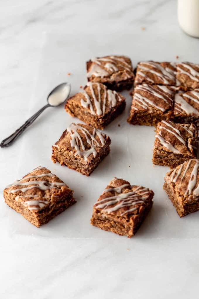 cut up chai latte blondies on a marble counter