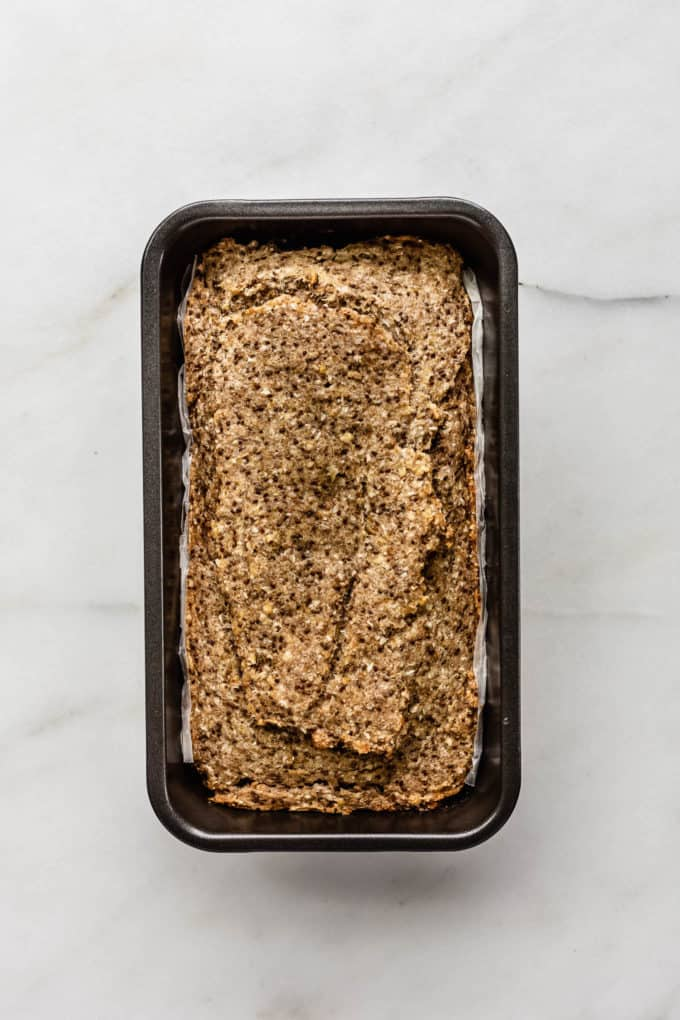 a baked buckwheat chia bread in a loaf pan
