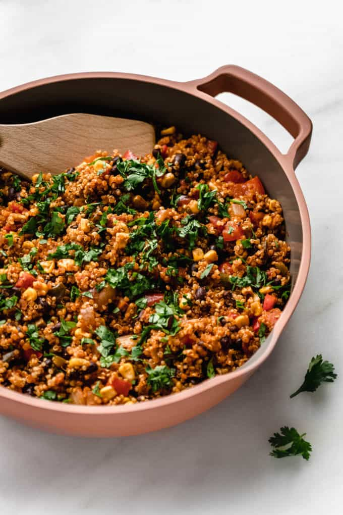 Mexican quinoa in a pink pan