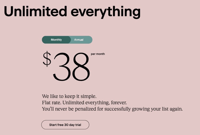 a photo of flodesk's monthly and annual subscription options