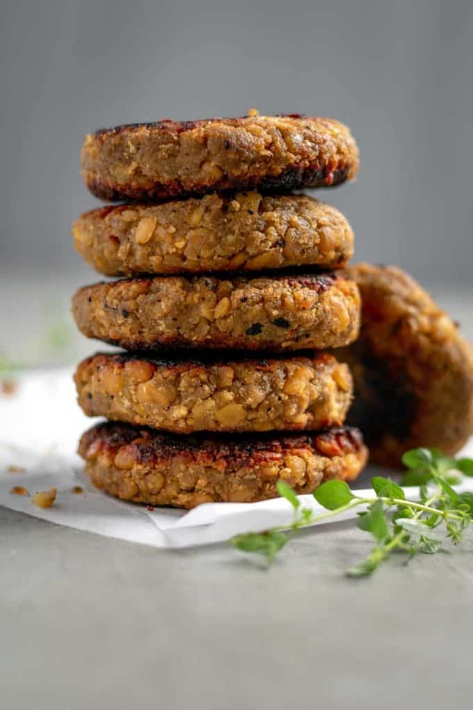 A stack of tempeh patties