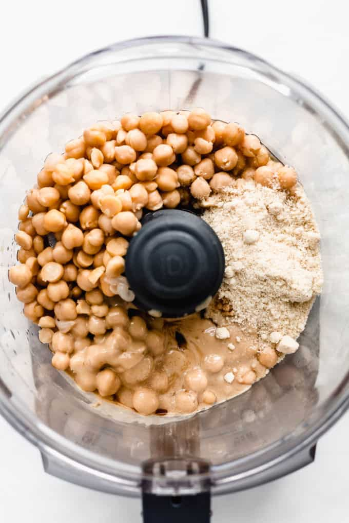 chickpeas, almond flour and tahini in a food processor