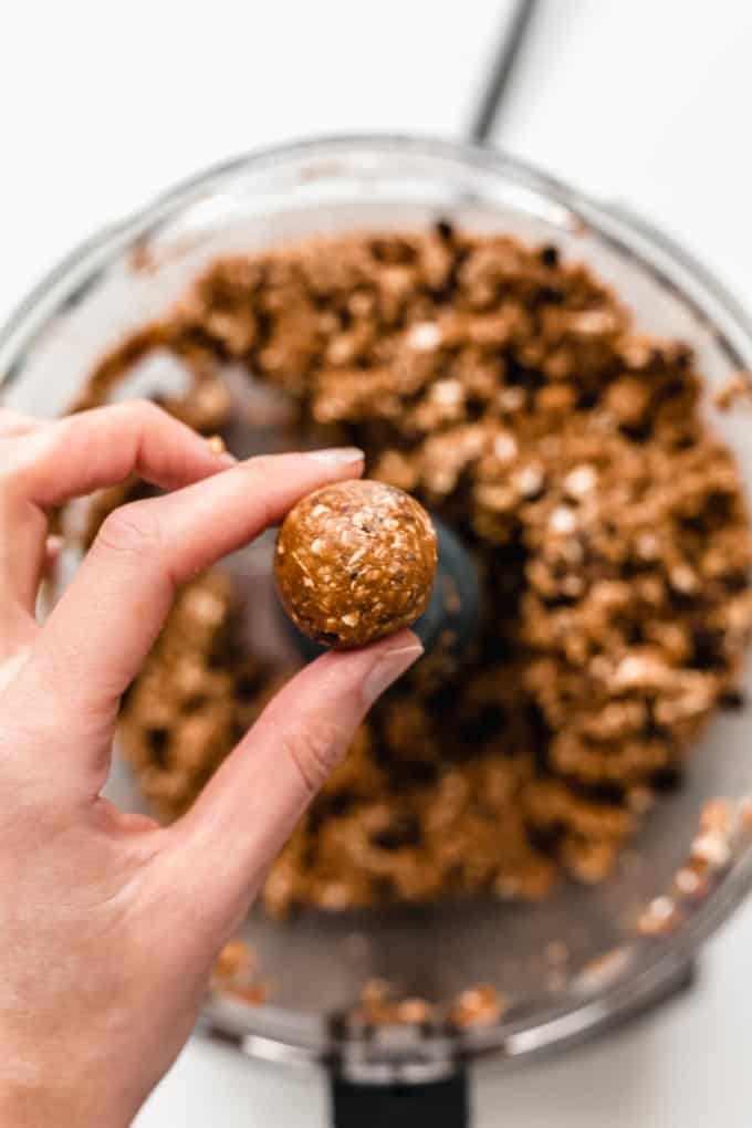 A rolled peanut butter protein balls