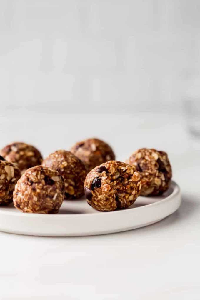 Trail mix energy balls on a white plate