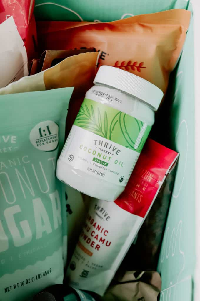 A box with products from thrive market in it