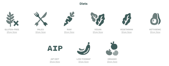 A screenshot of different diets from thrive market