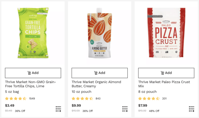 A screenshot of products from thrive market