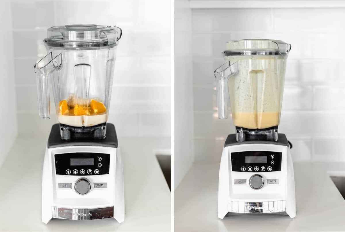 Two blenders side by side with smoothie ingredients in it