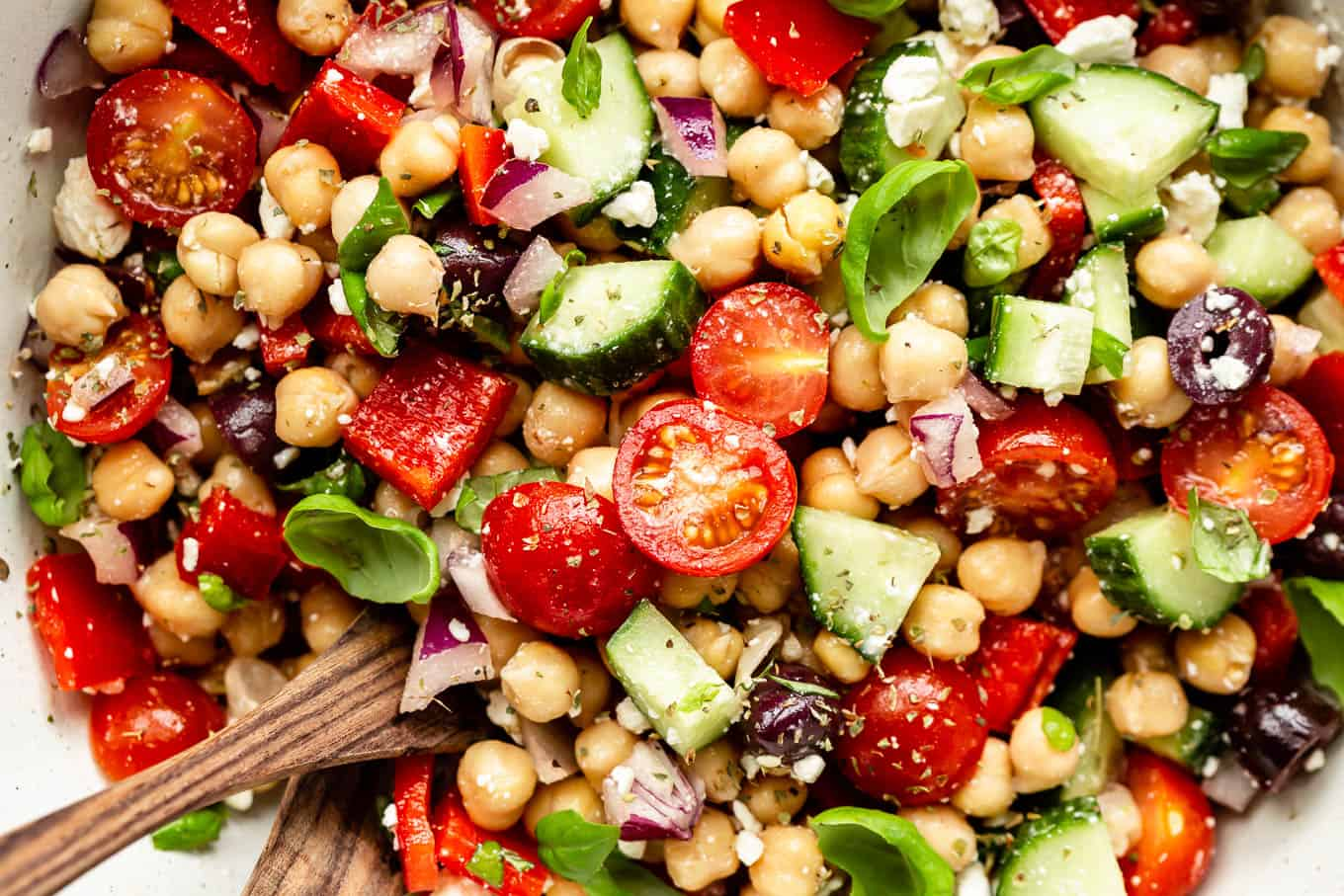 chickpeas, tomatoes and cucumbers tossed together