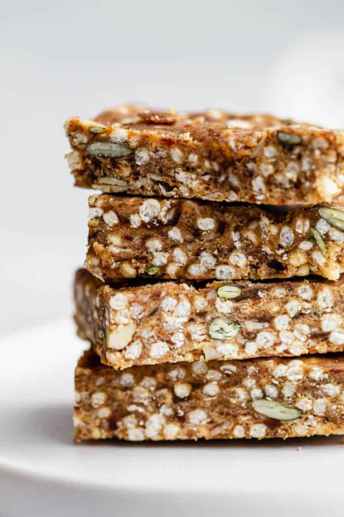 a stack of 4 puffed quinoa bars