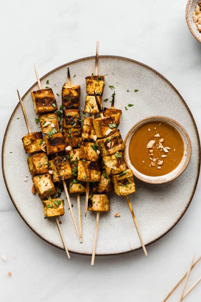 tofu satay on skewers