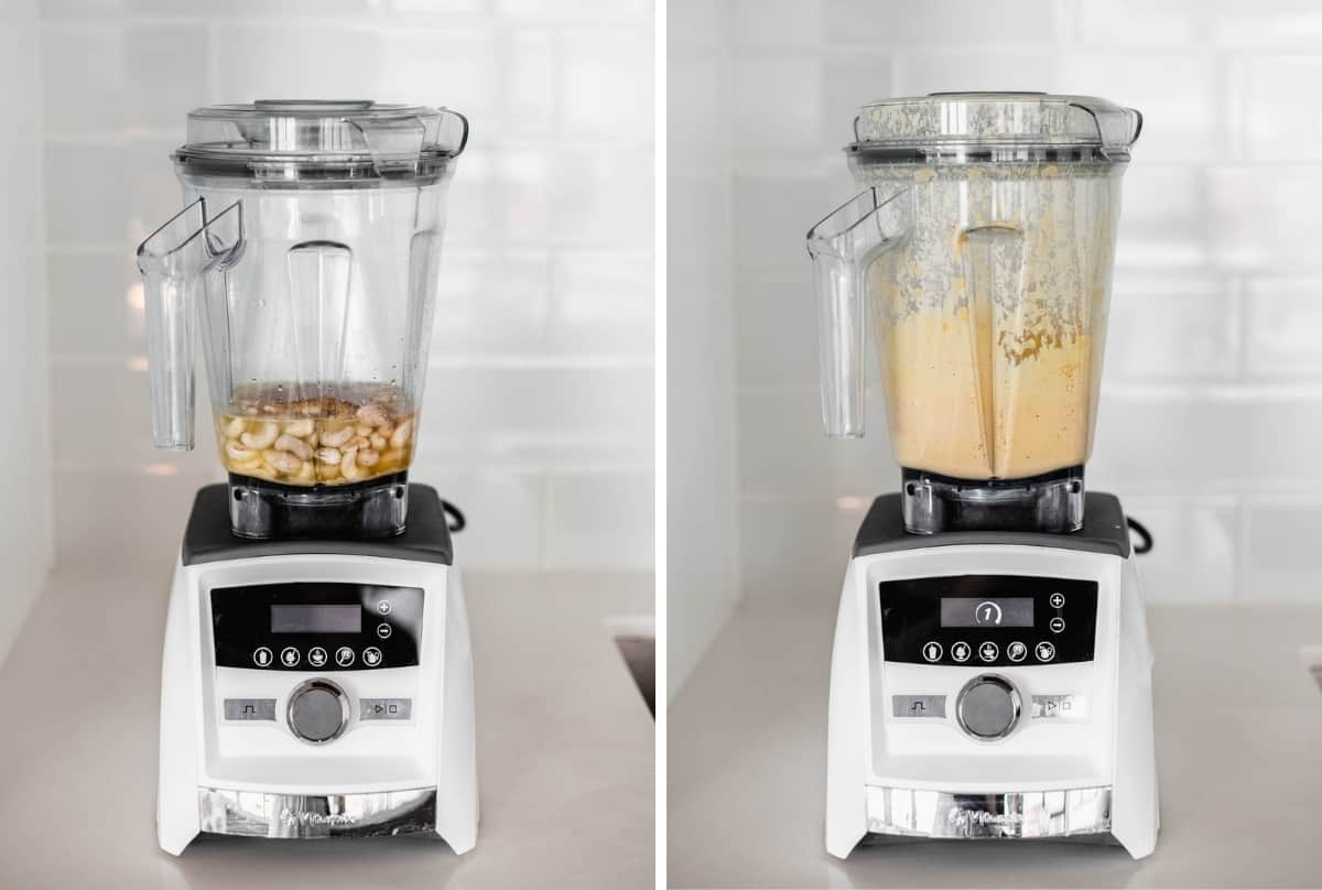 two side by side images of a blender before and after blending queso