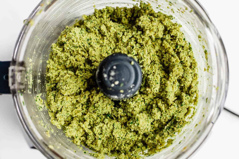 falafel mixture in a food processor