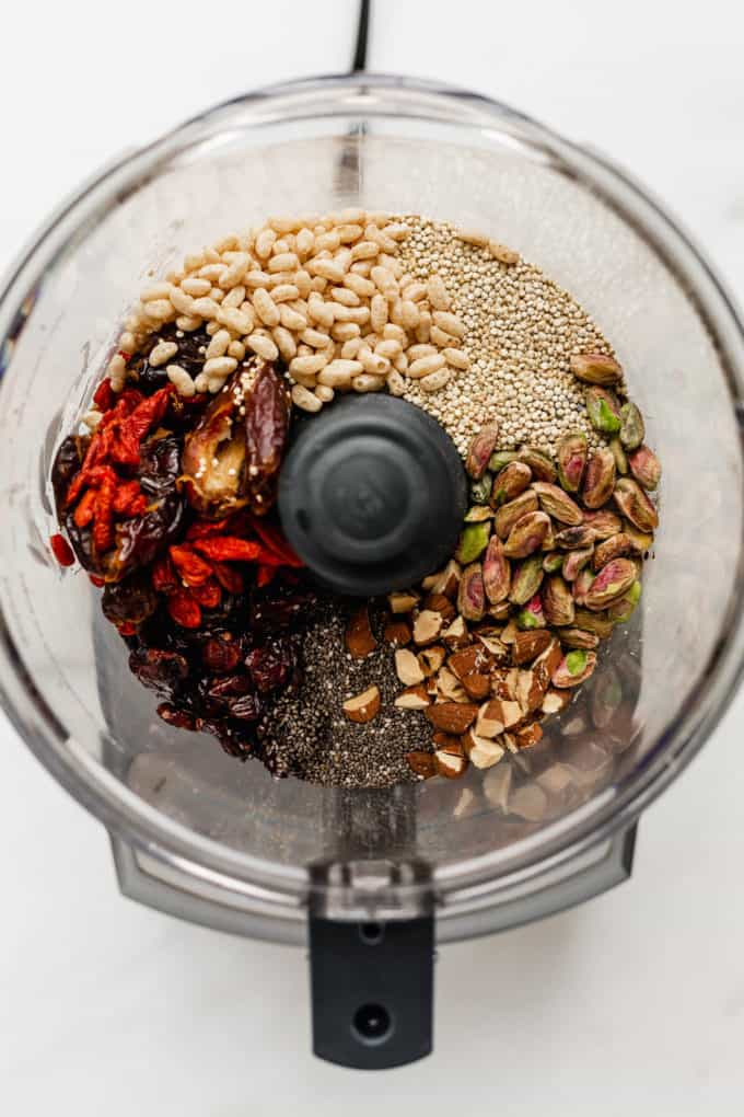 dried fruits, nuts and seeds in a food processor