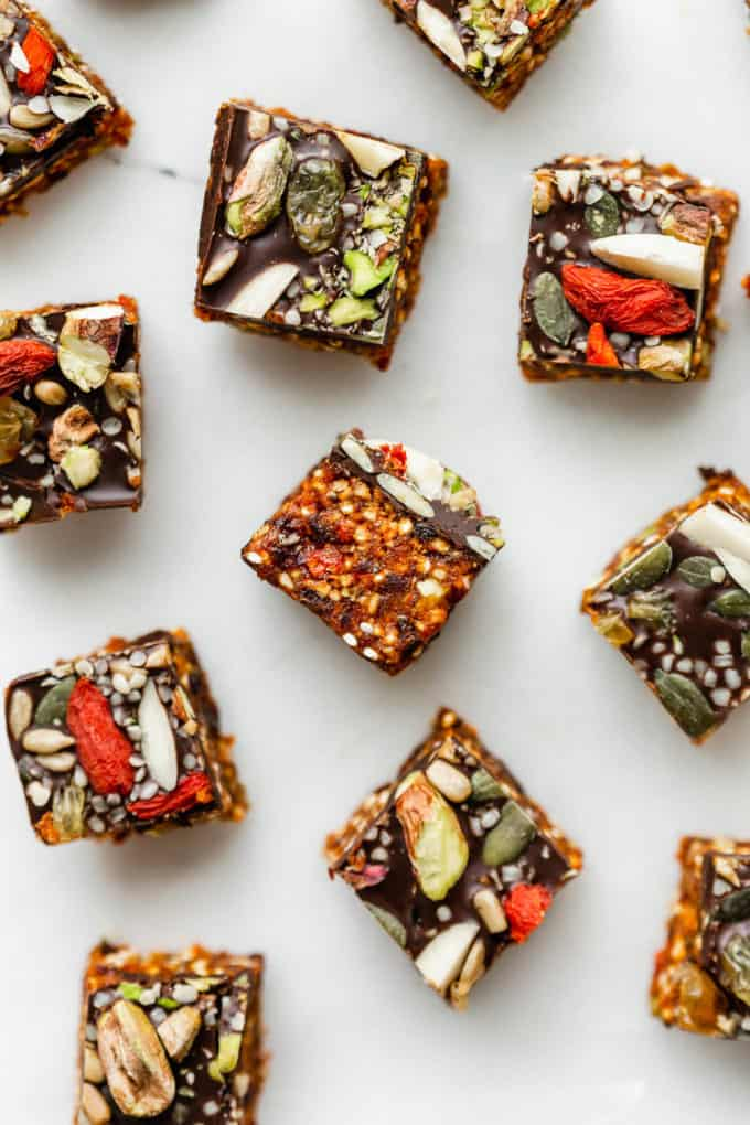 superfood energy squares on a marble board
