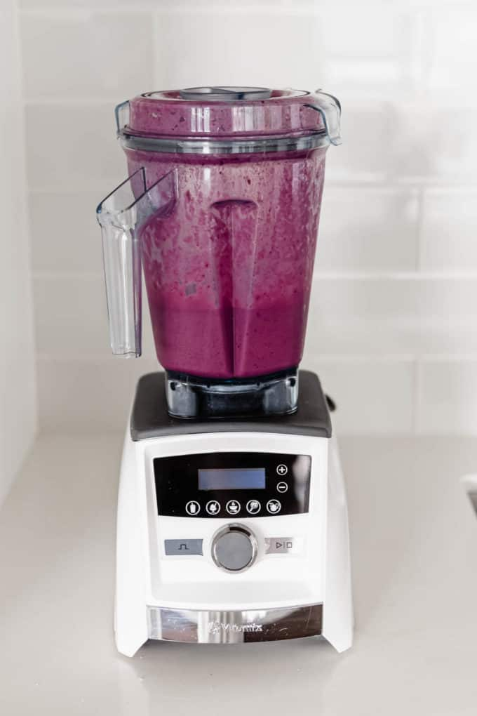 an acai smoothie in a blender