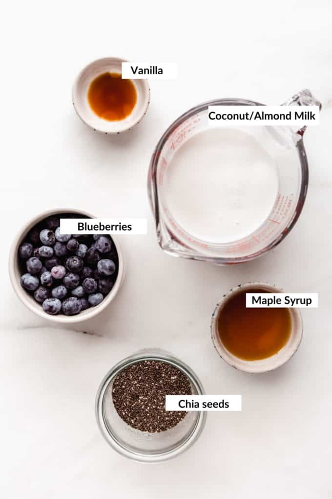 A flat lay of ingredients to make blueberry chia pudding