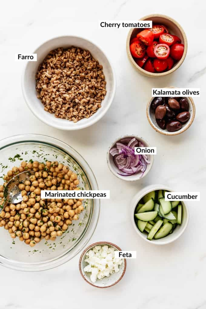A flat lay of ingredients for a greek power bowl